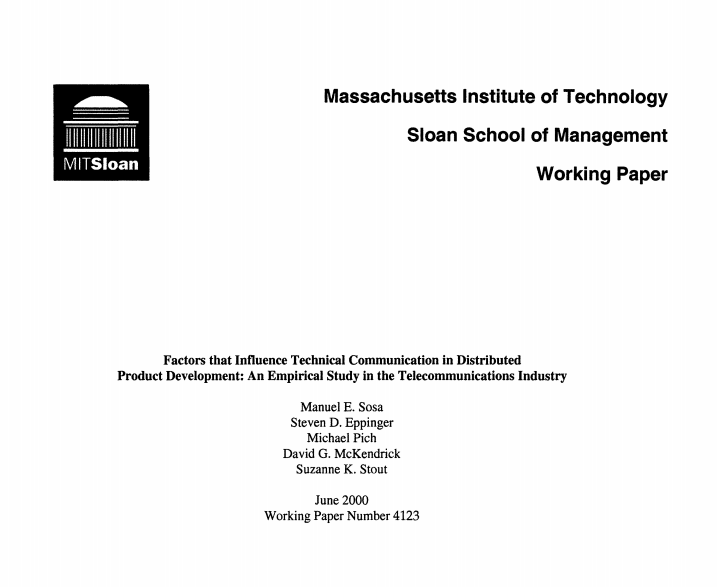 Factors that Influence Technical Communication in Distributed Product Development: An Empirical Study in the Telecommunications Industry